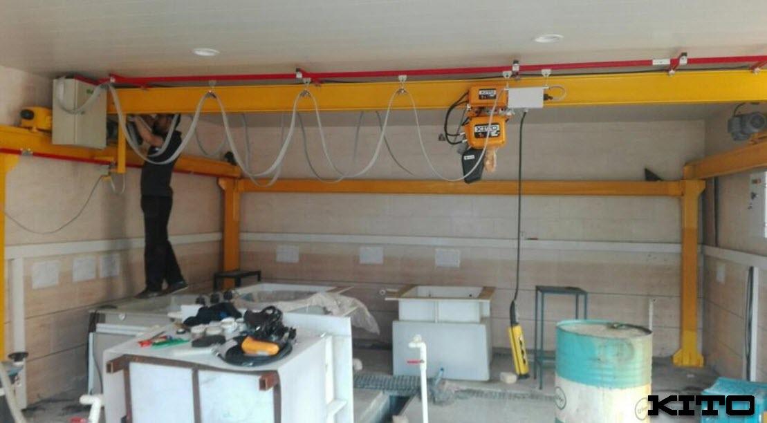 مهندسی ، ساخت و نصب یک دستگاه جرثقیل سقفی  به همراه سازه مکانیزم حرکتی (EPCI)